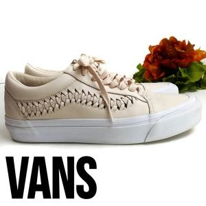 VANS Leather Ultra Cush Pink Woven Sneakers Size 8
